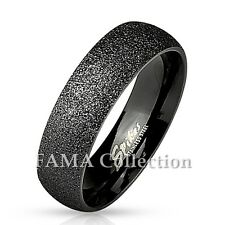 FAMA 6mm Stainless Steel Sand Blast Finish Black IP Classic Dome Ring Size 5-13