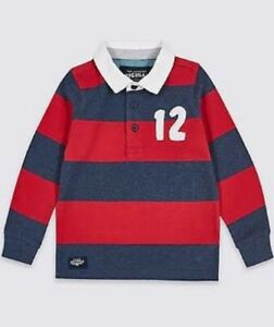 Boys rugby shirt top M & S baby 3 6 9 12 18 m 2 3 4 5 6 7 years RRP £10- 16 red