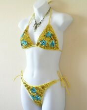Embroidered Sequins Top & Underwear Bikini Competition Swimsuit Swimwear - S & M