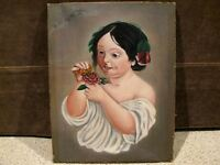 Antique FOLK ART PORTRAIT PAINTING - OIL ON CANVAS - LITTLE GIRL - NAIVE SCHOOL