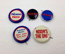 Vintage NIXON Presidental Campaign Buttons Political Pinback Set of 5 Pins