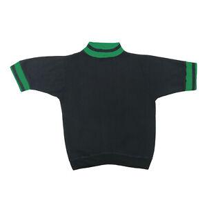 "VTG 60s Springfoot Adult Small 36"" Short Sleeve Sweatshirt Mock Neck Black Green"