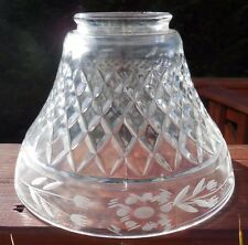 """Clear Crystal 6"""" Height Ceiling Lamp Replacement Shade 2 3/4 Fitter Etched Flora"""