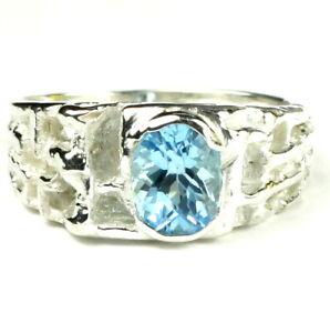 SWISS BLUE TOPAZ Sterling Silver Men's Ring, Handmade • SR197