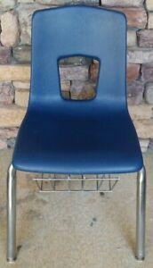 "15"" Blue Hard Plastic School Student Homeschool Activity Chair w/ Book Rack"