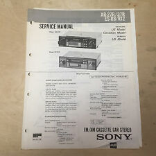 Sony Service Manual for  XR 27R 37R ES R8 R12 Cassette Player Radio Car Stereo