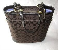 NICE COACH CHOCOLATE BROWN C SIGNATURE NORTH SOUTH NS GALLERY TOTE BAG PURSE WOW