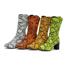 Women's Symthetic Leather Mid Calf Boots High Heels Side Zipper SnakeSkin Shoes