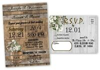 Personalized Barn Wedding Invitations Farm Set of 50 with RSVP Card