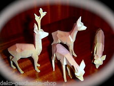 4 tallada Ciervo De Madera Decoración Navidad Bricolaje pirámides NACIMIENTO