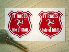 ISLE OF MAN TT RACES Shield Style STICKERS Pair Manx GP Racing Bike Motorcycle