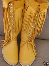 RENDEZVOUS GOLD ELK HIDE LEATHER  MOCCASINS MUKLUKS BOOTS 5-12