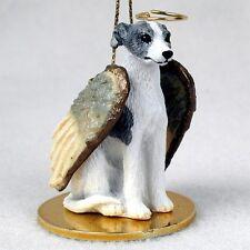 WHIPPET Gray White Dog ANGEL Ornament Figurine Statue
