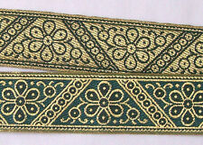Jacquard, Ribbon Trim. Metallic Gold & Forest Green