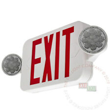 Led Exit Sign Amp Emergency Light High Output Red Compact Combo Ul Comborjr2