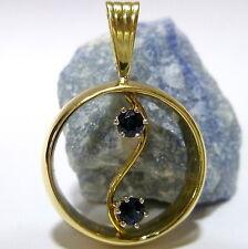 333 Homme / 8 K anneau pendentif en or avec 2 SAPHIR PENDENTIF EN OR