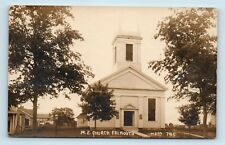 RPPC - Falmouth, MA - c1920 VIEW OF ME CHURCH - CAPE COD HISTORY - D1