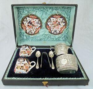 Crown Derby Cup / Saucer Silver cream Jug, Sugar Bowl Goldsmiths Alliance