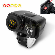 Yellow Led 12v Motorcycle Usb Charger 21a21a With Digital Voltmeter Thermometer