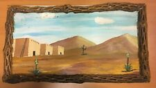 Outsider Raw Folk Art Wood SIGNED Painting Santa Fe New Mexico   Cholla Frame