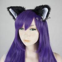 Halloween Cosplay Katzenohren Japanische Zubehör Haarschmuck Schwarz Weiß Lolita