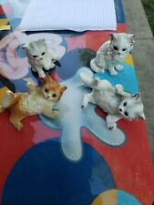 4 Beautiful Collectible Vintage Lefton Porcelain Cat Kitty Figurine