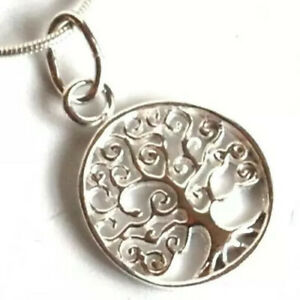 TREE OF LIFE REIKI YOGA 925 STERLING SILVER SMALL PENDANT & CHAIN NECKLACE