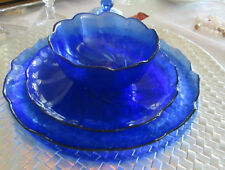 Twelve Piece Arcoroc Serving Set, Flower shape, Cobalt Blue, textured
