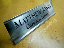 Custom Engraved 2x8 Silver Desk Sign Name Plate   Personalized Customized
