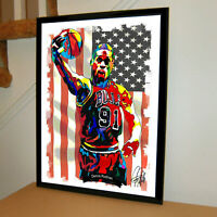 Dennis Rodman Chicago Bulls Basketball Poster Print Wall Art 18x24