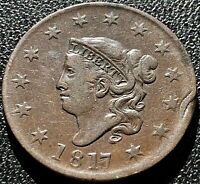 1817 Large Cent Coronet Head One Cent 1c High Grade XF #15441