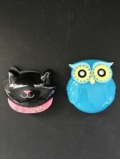 Lot Of 2 Bath And Body Works Purse Mirrors Blue Owl Black Halloween Cat Sold Out
