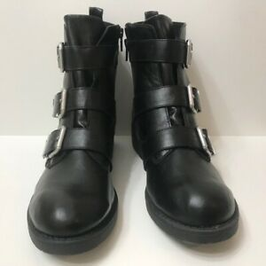 Big Buddha Black Triple Buckle Ankle Boots, Size 9 1/2.