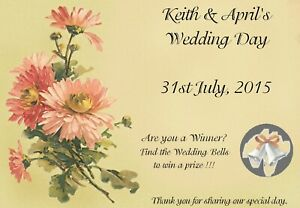 10 Personalised Wedding Scratch Cards A6 - Wedding Favour, Wedding Party Game F1