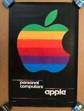 APPLE COMPUTER ORIGINAL VINTAGE 1980 GIANT RAINBOW LOGO POSTER SUPER RARE!