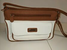 Laura Scott Purse Mini Bag Brown And White Faux Leather Used Adjustable Straps