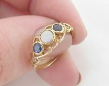 ring, vintage 9k 375 9ct gold sapphire & opal