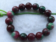New 12mm Red Green Ruby zoisite Round Gemstone Stretch Bracelet  AAA.