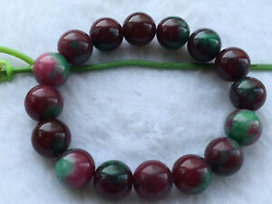New 12mm Red Green Ruby zoisite Round Gemstone Stretch Bracelet . AAA2