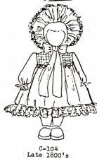 1:12 scale Emanjay Dollhouse Doll Clothes pattern#104 1800s Girl Dress & Bonnet