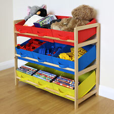 Yellow Blue & Red 3 Tier Toy Unit 9 Canvas Boxes/Drawers Kids/Childrens Storage
