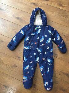 Mini Boden Space Snowsuit 6-12 Months. Winter coat pramsuit. Worn Twice!