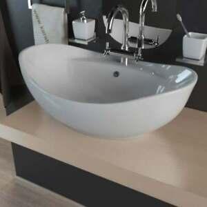 Keramik Waschtisch Waschbecken Aufsatzwaschbecken Waschschale Oval weiß KBW011