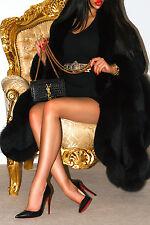 ELEGANT BLACK CASHMERE BLUE SILVER REAL FOX FUR PONCHO COAT JACKET XL LONG CAPE