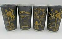 4 Vtg 50's Montana State Souvenir Retro Map Drink Glass Glasses Black & Gold