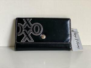 NEW! XOXO BLACK STATUS CHIC FLAP CLUTCH CHECKBOOK WALLET PURSE $34 SALE
