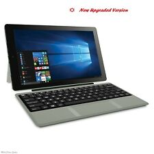 "2-in-1 Tablet Laptop 10.1"" Screen 32GB Intel Atom Quad-Core Processor Win 10 Slv"