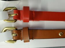 $34 Style & Co Macy's Womens 2 for 1 Skinny Belts Red  Brown  Star Studs Large