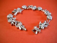 Lovely Sweetheart Cupid and Hearts floating Silvertone Charm Bracelet
