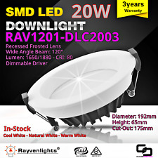 LED Downlight + Driver + Lead: 20W Warm White Dimmable - 175mm Dia Cut Out 5pcs
